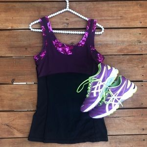 Lucy Purple and Black Workout Tank Top
